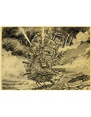 Howl'S Moving Castle Poster Miyazaki Hayao'S Filmposters Klassieke Cartoon Amine Vintage Kraftpapier Schilderij C618 40X60 Cm
