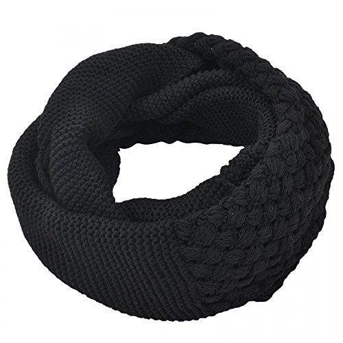 [Black_Knit infinity scarf oversized neck warmer Shawl circle (US Seller)] (Faux Chain Hooded Costumes)