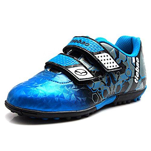Tiebao Boys Cool Multicolor Hook&Loop Football Shoes Fustal Soccer Sneakers Hard Ground Turf Indoor Blue SN76660 US5.5