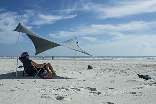 Otentik Beach Sunshade Sandbag Anchors – The Original Sunshade Since 2011 (Dark Grey, Medium 7.3 x 6 ft 5.5 ft Tall/up to 4 People)