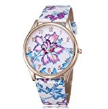 BUYEONLINE Women's Fashion Flower Rose Gold Plated Leather Casual Watch Purple