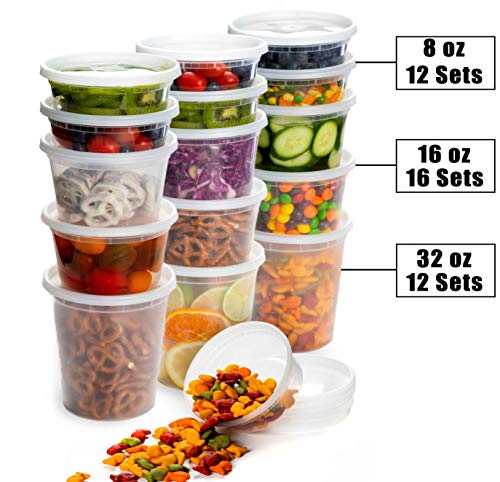 Deli Plastic Food Containers with Airtight Lids [40 Sets] - Pack Food Combo Container