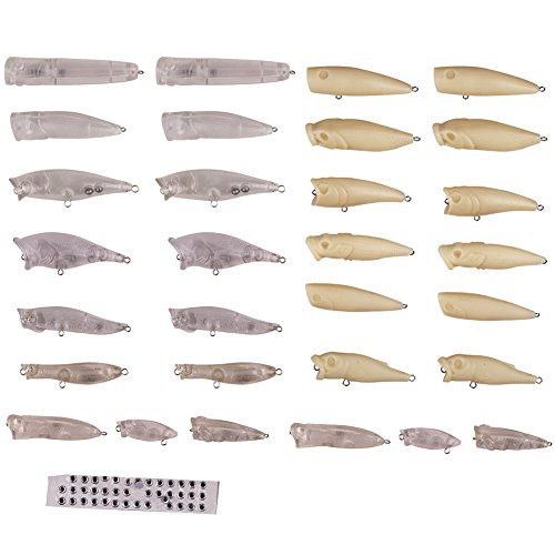 - LPATTERN 30pcs Fishing Hard Lures, Blank Lure Body,3D Eyes for Free,with Rattle Inside, unpainted crankbaits kit