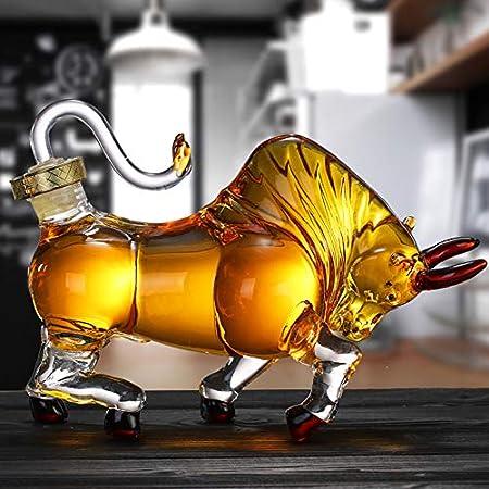 YXZN Decantador de Vaca Taishan, decantador de Whisky, Botella de Vino Artesanal de Vaca, Forma de Animal de Vaca con Cabeza, decantador de Vaca en Forma, 500 ml