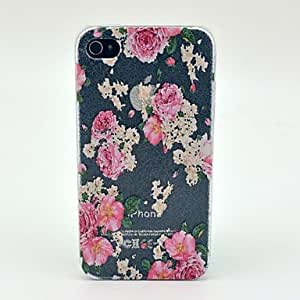 SJT Rose Flower Pattern Hard Cover Case for iPhone 4/4S