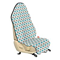 Lunarable Whale Cubierta para asiento de automóvil, Happy Fishes Nursery Baby Shower Infantil Comic Ocean Mammals Girls Boys, Protector de cubierta para asiento de automóvil y camión con respaldo antideslizante Ajuste universal, Taupe Turquoise White