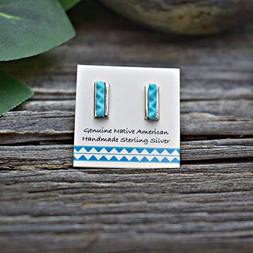 (Genuine Sleeping Beauty Turquoise Bar Stud Earrings, 925 Sterling Silver, Authentic Zuni Native American USA Handmade, Natural Stone, Small and Dainty for Women, Light Blue, Southwest)