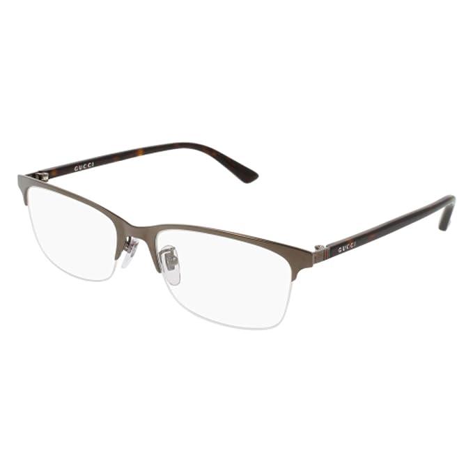 9ddabf9f546 Amazon.com  Gucci GG 0132OJ 003 Ruthenium Metal Rectangle Eyeglasses ...