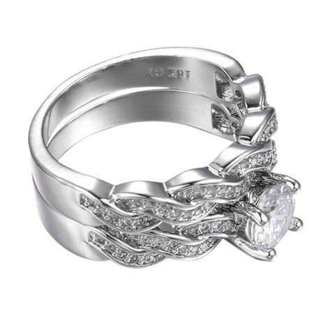 CapsA New 2PC Anniversary Promise Wedding Band Engagement Ring Bridal Sets Love Ring (F)