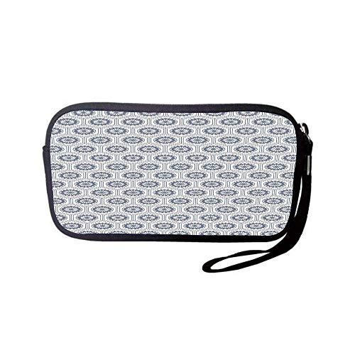 - iPrint Neoprene Wristlet Wallet Bag,Coin Pouch,Geometric,Comb Design Kikko Tortoise Shell Pattern Western Asian Influences Hexagon Motifs,Grey White,for Women and Kids