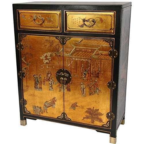 Oriental Furniture Gold Lacquer Two Drawer Cabinet (Cabinet Oriental Storage)