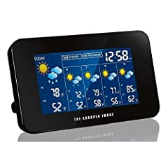 This Sharper Image Wireless Internet Weather Station gives you up-to-date weather forecasts at a glance. Choose from over 10,000 North American cities. The large colorful screen displays a four-day forecast using 28 easy-to-read weather icons...