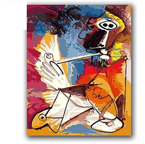 XIGZI Blaue Meerjungfrau Ölfarbe Gemälde Zeichnen Bilder nach Zahlen mit Kits auf Leinwand Cartoon Anime handgefertigte Illustrationen Malen nach Zahlen 40X50 cm,Mit Holzrahmen,J B07NZW9NXY   Bequeme Berührung