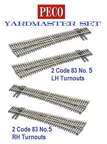 5 Right Hand Turnout - Peco HO-scale Code 83 Insulfrog Yardmaster Set of 4 turnouts, (2) #5 Left-Hand Turnouts and (2) #5 Right-Hand Turnouts, DCC Friendly