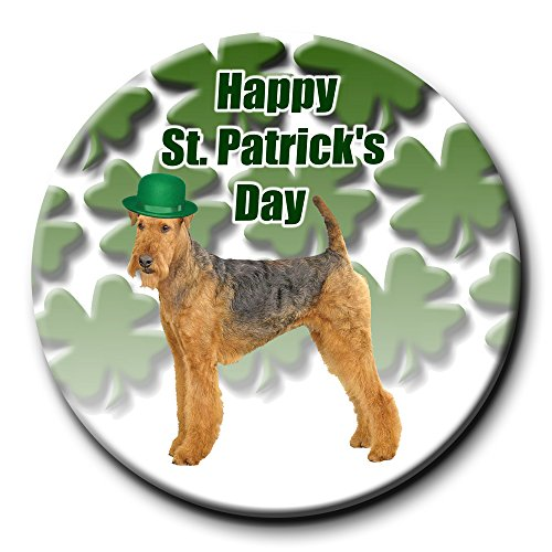 Airedale Terrier St Patricks Day Pin Badge Button