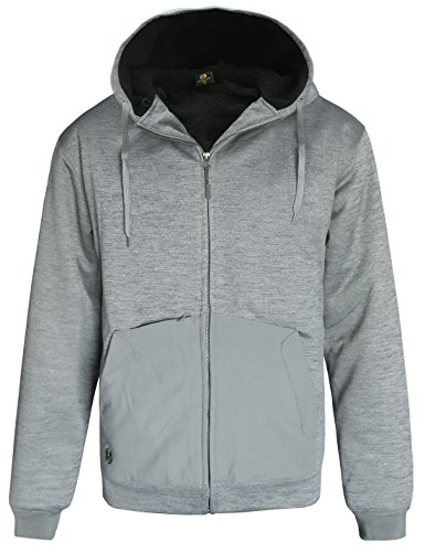 HARD LAND Men's Sherpa Lined Full Zip up Hoodie Heavyweight Hooded Sweatshirt Winter Fleece Jacket Size M Grey