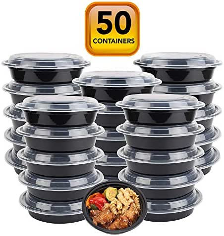 50-Pack containers with Lids (24 OZ.) Lunch Boxes -BPA-Free Food Grade.- Freezer & Dishwasher Safe - Premium Quality