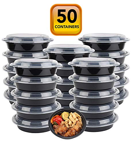 50-Pack meal prep Plastic Microwavable Food Containers for meal prepping bowls with Lids (24 OZ.) Black Reusable Storage Lunch Boxes -BPA-Free Food Grade.- Freezer & Dishwasher Safe - PREMIUM QUALITY