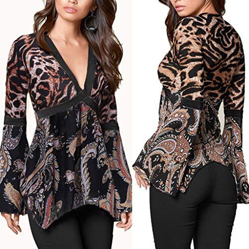 Luckycat Camisas y Blusas para Mujer Leopard Print Sexy con Cuello en V Top Cruzar Twisted Front con Nudos Busto Ladies Tunic Slim Pliegues Tie Camisetas de ...