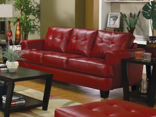 Coaster Home Furnishings Casual Contemporary Sofa, - Leather Set Loft Sofa