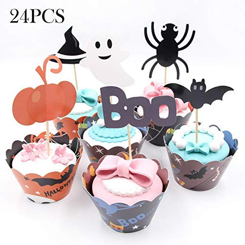 Cupcake Toppers Christmas Decorations 12 Pieces Christmas Cupcake Toppers Picks Mini Pumpkin Spider Ghost Hat Bats Boo and 12 Pieces Christmas Style Cupcake Wrappers Cupcake -