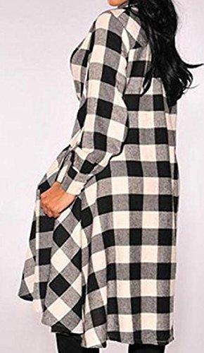Splicing Dress Women's Comfy Gingham line Irregular Black Lapel Long A Novelty zUdXq