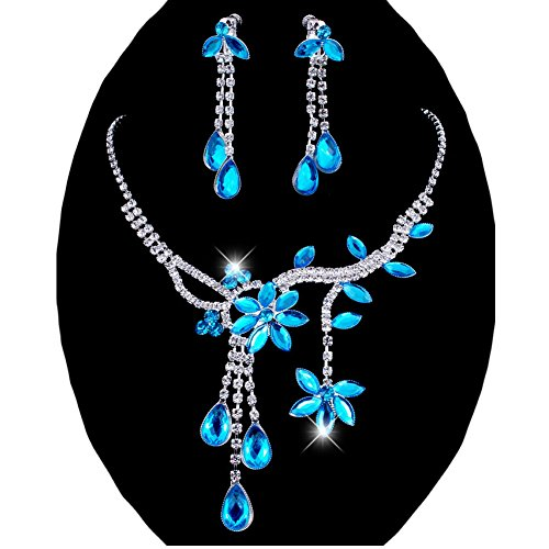 Necklace Crystal Flower Rhinestone Wedding - Chunlin Wedding Bridal Flower Leaf Rhinestone Crystal Necklace Drop Earrings Jewelry Set (Blue)