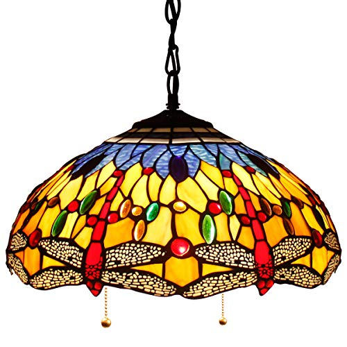 16P Tiffany Pendant Lamp Crystal Bead Dragonfly 16 Inch Sea Blue Stained Glass Shade for Dinner Room Hanging 2 Light (S168 - 16 Glass Inch Stained Lamp