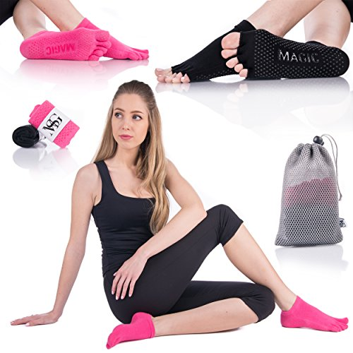 Non Slip Yoga Socks for Women - Non-Skid Silicone Premium Grip for balance - Ideal for Barre, Pilates and Ballet Exercise or Hospital Wear with Mesh Bag for Washing Machine