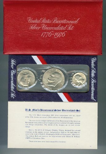 1776-1976 S UNITED STATES BICENTENNIAL SILVER PROOF SET 3 PIECES 40/% U.S Mint