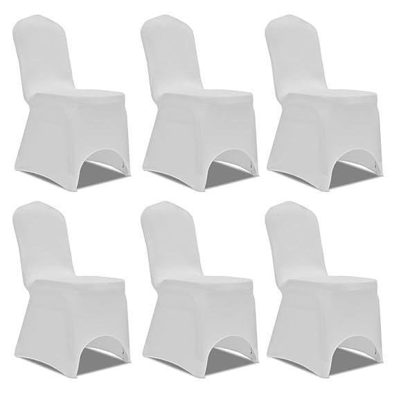 Set de 6 Fundas aAjustadas para Sillas, color blanco decoracion para sillas.
