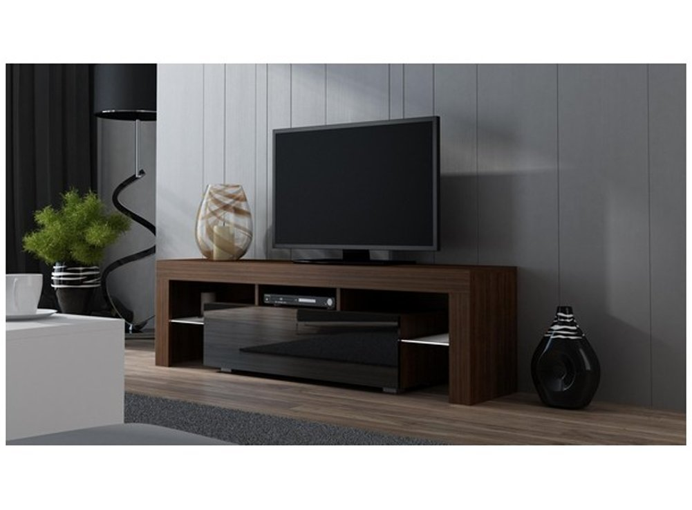 TV Stand MILANO 160 / Modern LED TV Cabinet / Living Room Furniture / Tv Console fit for up to 70'' flat TV screens / Capacity Tv Console for Modern Living Room (Walut & Black)