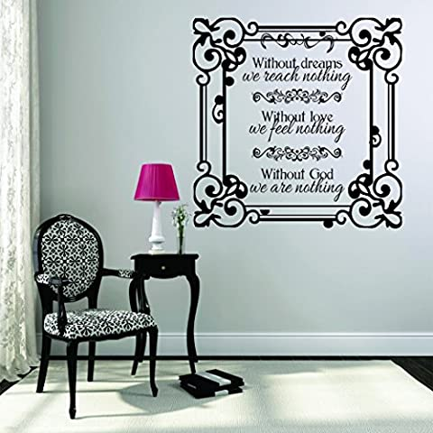 Wall Decal Sale : Without Dreams We Reach Nothing, Without Love We Feel Nothing, Without God We Are Nothing Life Quote Kjv Bible Fancy Frame Size: 12 Inches X 12 Inches - 22 Colors (Dark Purple Wallpaper)