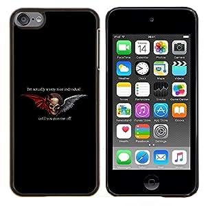 For Apple iPod Touch 6 6th Generation - WINGS BLACK DEVIL HORNS ANGEL DUALITY /Caja protectora de pl???¡¯????stico duro de la cubierta Dise???¡¯???¡Ào Slim