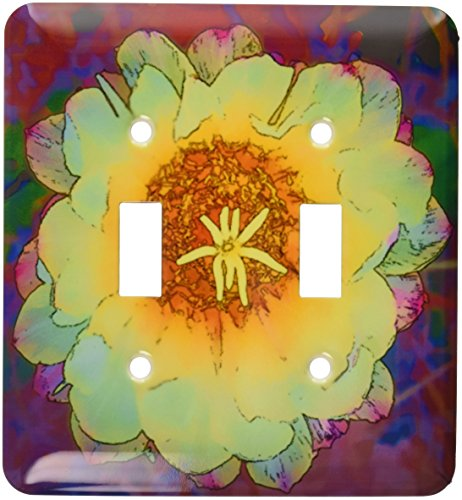 3dRose lsp_32380_2 Decorative colorful garden SW Southwest Desert cactus red green gold flower abstract pastel cartoon Toggle Switch,