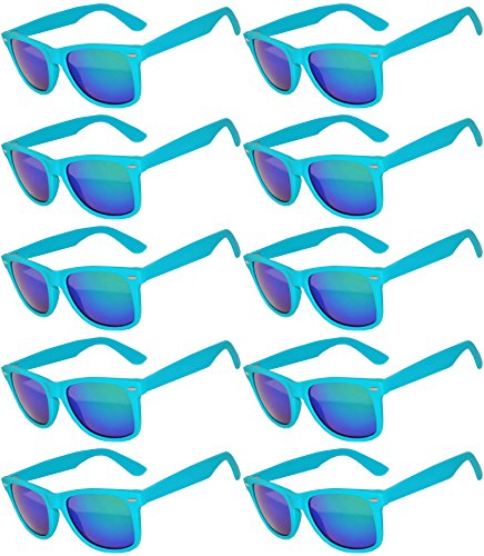 Vintage Mirrored Lens Sunglasses Matte Frame 10 Pack in Multiple Colors OWL (10_Pairs_Turquoise_Matte, -