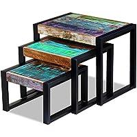 Festnight Set of 3 Reclaimed Wood Nesting Tables, Vintage-style