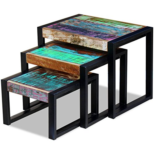 Festnight 3 Pieces Reclaimed Wood Nesting End Side Table Set Stackable Nightstand Corner Tables with Steel Frame Leg for Living Bed Room Small Place Home Rustic
