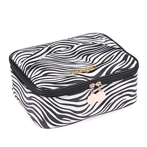 OXYTRA Travel Makeup Bag Zebra Print PU Leather Cosmetic Bag Organizer for Women- Portable Multifunction Toiletry Bags with Adjustable Dividers (Zebra Print) -