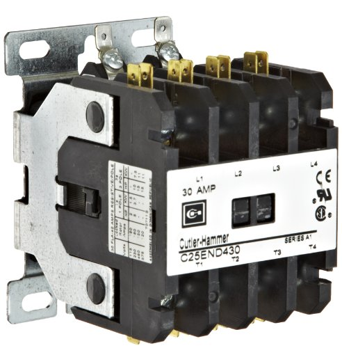 480vac Coil Pole Contactor Single (Eaton C25END430T Definite Purpose Contactor, 50mm, 4 Poles, Screw/Pressure Plate, Quick Connect Side By Side Terminals, 30A Current Rating, 2 Max HP Single Phase at 115V, 10 Max HP Three Phase at 230V, 15 Max HP Three Phase at 480V, 24VAC Coil Voltage)