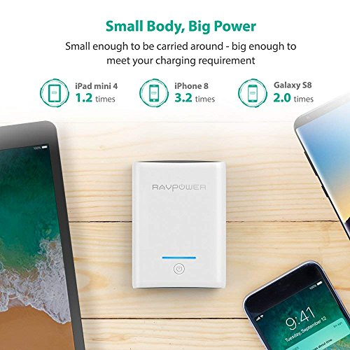 Portable Charger RAVPower 10000mAh Power Banks, Ultra-Compact 10000 Battery Pack with 3.4A Output, Dual iSmart 2.0 USB Ports, Portable Phone Charger for iPhone, iPad and More (White) by RAVPower (Image #1)