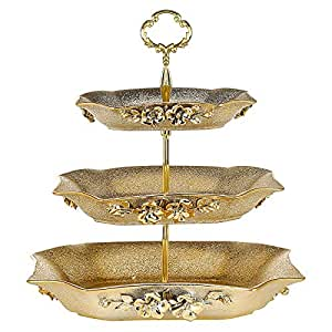 Porcelain Rectangular 3 Tier Tray - 30 cm,Gold