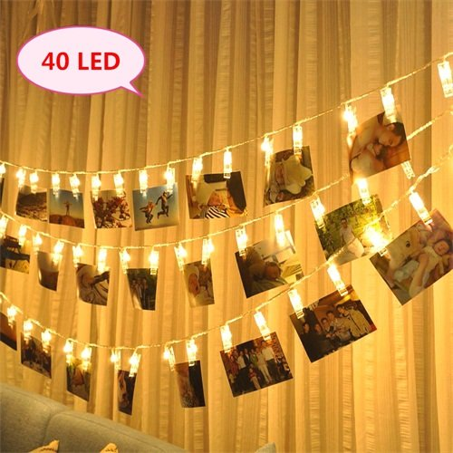 Photo Clips String Lights 40Led 14.7Ft Battery Powered DIY Picture Cards Artwork Wall Lights Clips for Hanging Photos Paintings Pictures Card and Memos Wedding Party(Warm White) (Wall Clips Art)