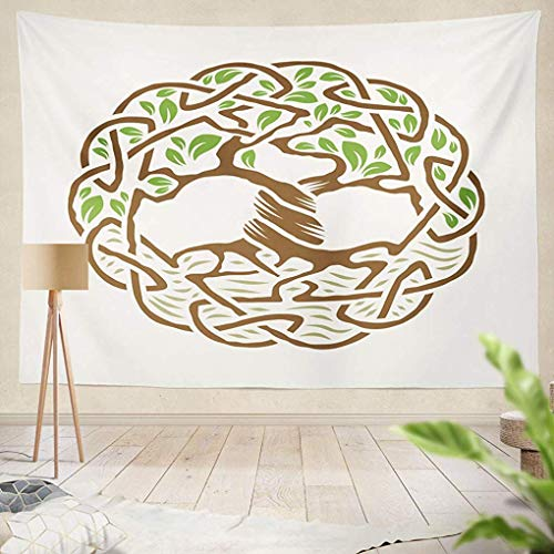 (YGUII Ethnic Psychedelic Tapestry Wall Hanging Celtic Tree Life Color Tree Life Celtic Circle Symbol Knot Art BranchLiving Room Bedroom Art Nature Home Decorations 150150cm(60