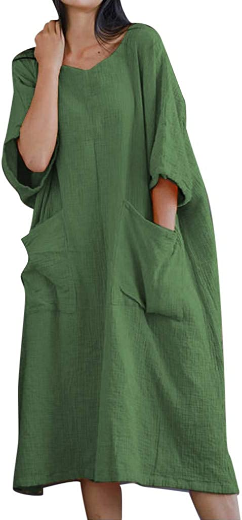 ♛TIANMI Women's Summer Solid Half Sleeve Two Big Pockets Cotton and Linen Loose Dress,Women for Skirt