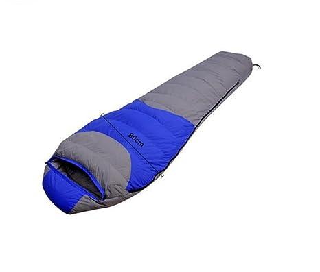 Saco de dormir, pluma/acampar al aire libre , blue: Amazon.es ...