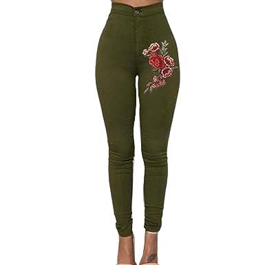Amasells Pantalones Vaqueros De Color Liso Para Mujer
