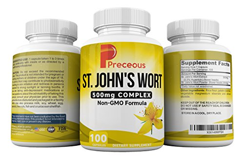 Preceous St. John's Wort The Natural Recommended St John's Wort For Your Mood Stress Support Supplement Relieves Anxiety For Men And Women Aids Weight Loss