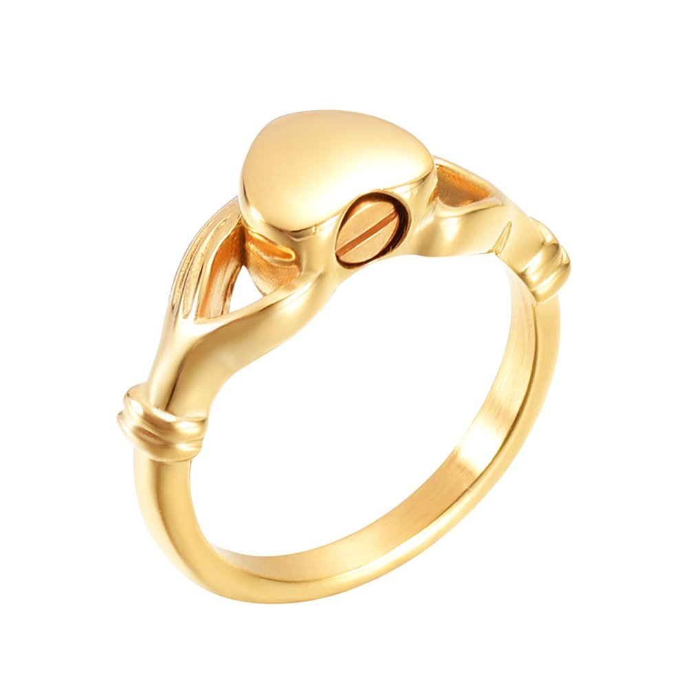 #6 #7 #8 #9 Engravable Iinfinity Love Heart Eternity Ring Stainless Steel Memorial Finger Ring Cremation Jewelry for Ashes (Gold- #8)