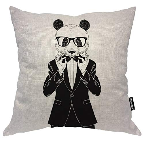 Moslion Panda Pillows Cool Animal Bear Pandas in Black White Suit Bow Tie Glasses Throw Pillow Cover Decorative Pillow Case Square Cushion Accent Cotton Linen Home 18x18 Inch